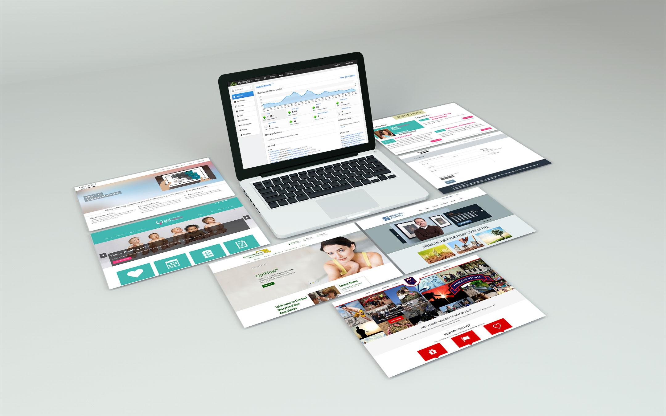 illustration of different website designs