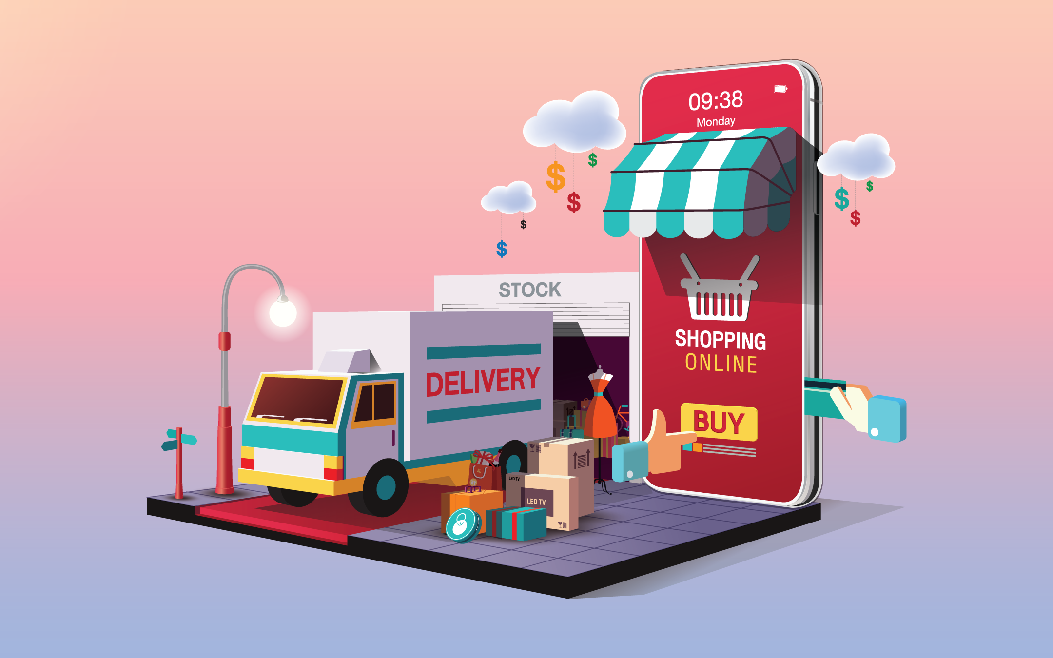 illustration of online shopping from mobile phone