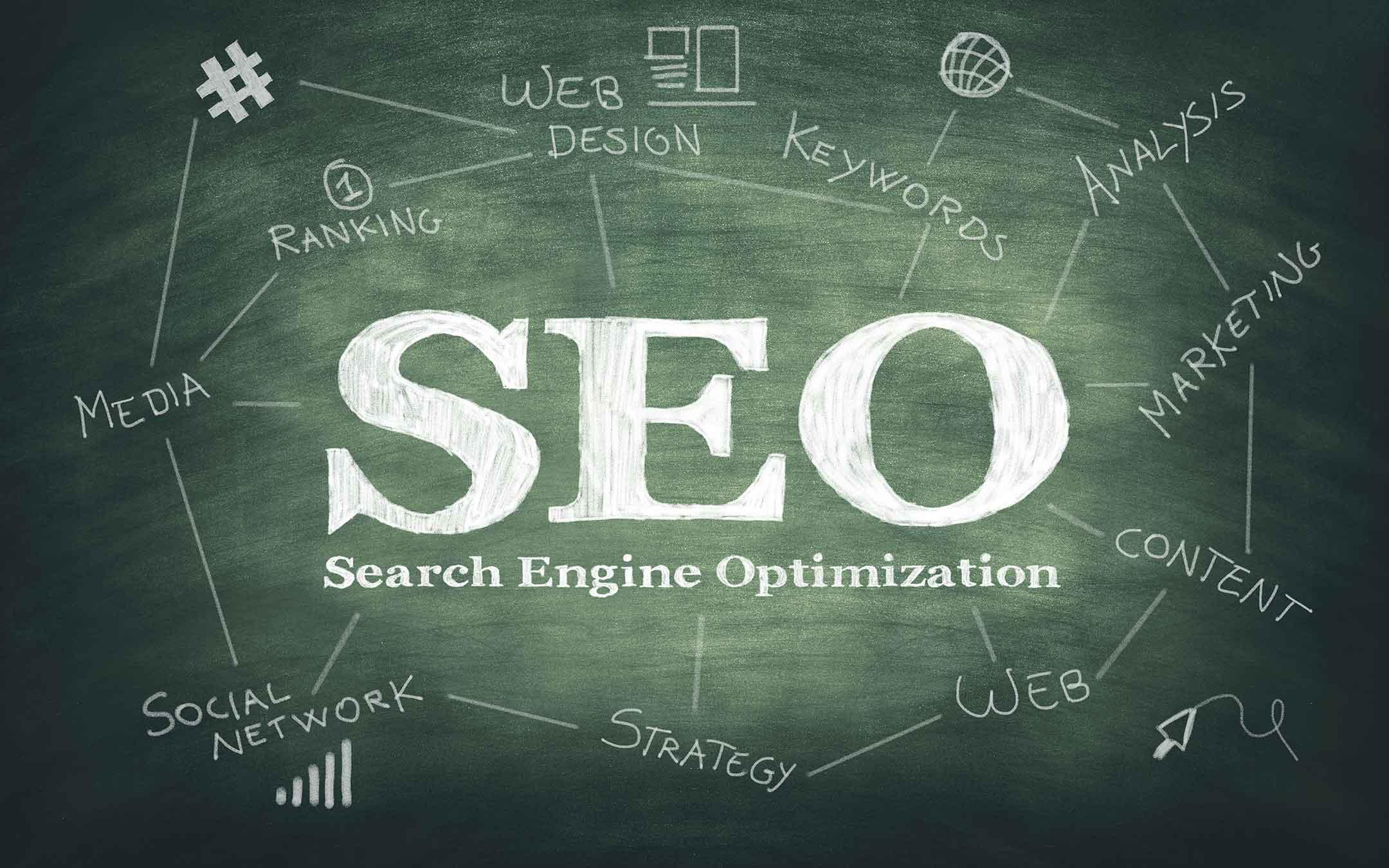 Search Engine Optimization written on chalk board