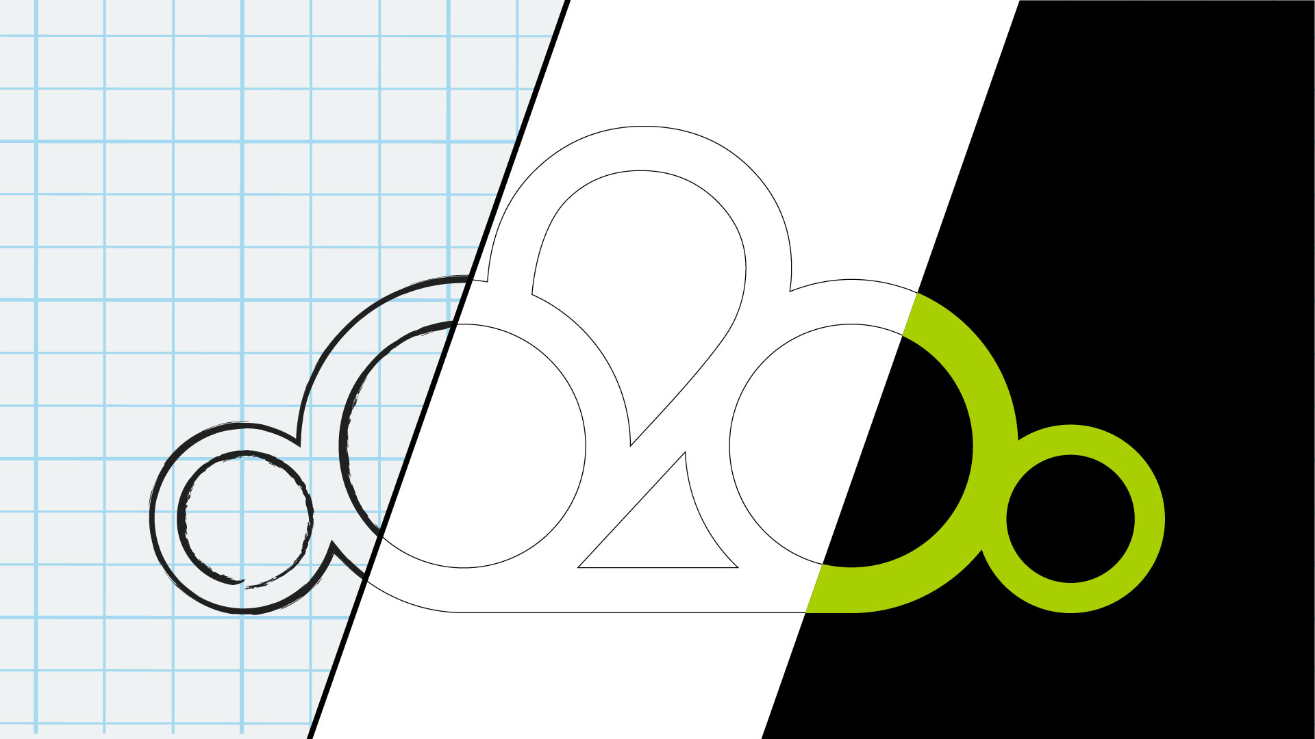 illustration of the concept stages of logo design